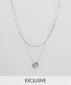 Серебристое многоярусное ожерелье с подвеской-медальоном Chained & Able эксклюзивно для ASOS - Серебряный
