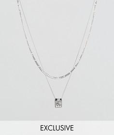 Серебристое ожерелье с подвеской Chained & Able эксклюзивно для ASOS - Серебряный