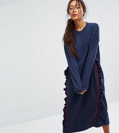Трикотажное платье с рюшами Monki - Синий