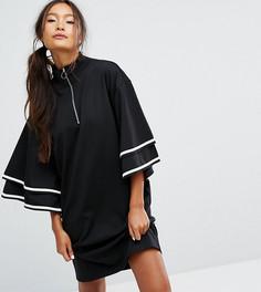 Платье на молнии с оборками на рукавах Monki - Черный