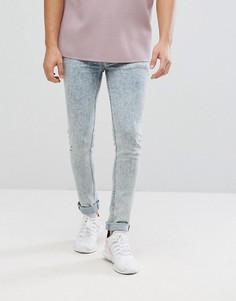 Выбеленные супероблегающие джинсы в винтажном стиле ASOS - Синий
