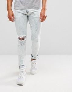 Синие выбеленные джинсы скинни ASOS - Синий