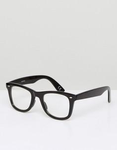 Квадратные очки в черной оправе с прозрачными стеклами ASOS - Черный
