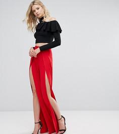 Широкие брюки с разрезами спереди ASOS TALL - Красный