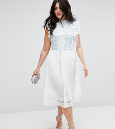 Платье без рукавов с вышивкой ASOS CURVE PREMIUM - Кремовый