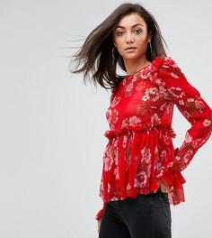 Красная свободная блузка с оборкой и цветочным принтом ASOS TALL - Мульти