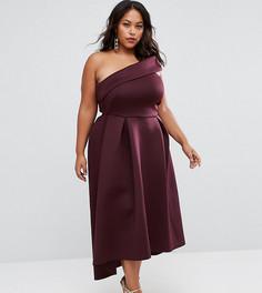 Приталенное платье миди на одно плечо ASOS CURVE - Фиолетовый