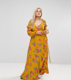Платье макси с длинными рукавами и цветочным принтом ASOS CURVE - Мульти