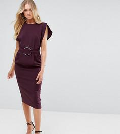 Платье миди с разрезами на рукавах и кольцом на талии ASOS TALL - Черный