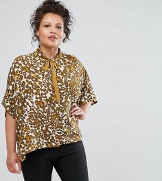 Рубашка с анималистичным принтом и завязкой на шее Elvi - Мульти