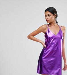 Платье-комбинация мини цвета металлик Club L - Фиолетовый