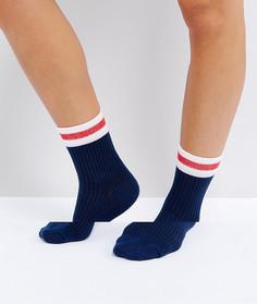 Темно-синие носки в рубчик с розовыми полосками ASOS - Темно-синий