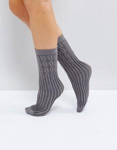 Серые носки с узором в косичку Jonathan Aston - Серый