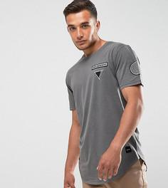Удлиненная футболка с асимметричным краем и нашивкой Only & Sons - Синий