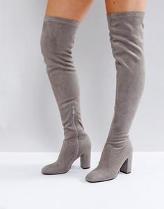 Серые ботфорты на блочном каблуке RAID - Серый