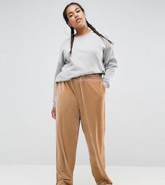 Бархатные брюки с широкими штанинами и эластичным шнурком ASOS CURVE - Кремовый