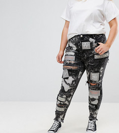 Рваные джинсы скинни с нашивками ASOS CURVE - Черный