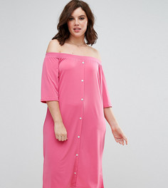 Платье-рубашка на пуговицах со спущенными плечами Pink Clove - Розовый