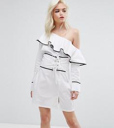 Корсетное платье с открытыми плечами Missguided Petite - Мульти