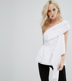 Блузка на одно плечо с широким шарфом Missguided Petite - Белый