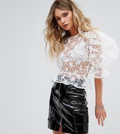 Блузка с вышивкой и пышними рукавами Missguided - Белый