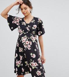 Приталенное платье с запахом и рукавами клеш Bluebelle Nursing - Мульти