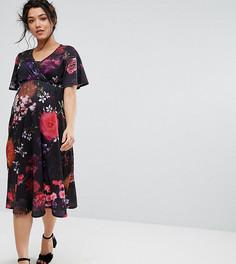 Платье миди с запахом и рукавами кимоно Bluebelle Maternity - Мульти