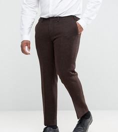 Коричневые брюки узкого кроя из 100% шерстяного харрис-твида с узором в елочку ASOS PLUS - Коричневый