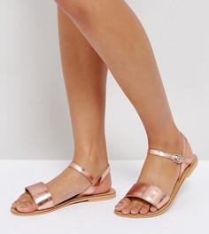 Кожаные сандалии для широкой стопы ASOS FLIQUEY - Бежевый