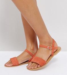 Кожаные сандалии для широкой стопы ASOS FLIQUEY - Оранжевый