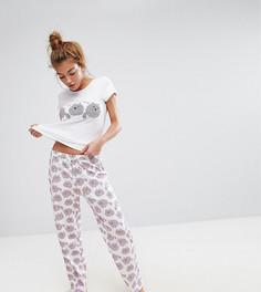 Пижамный топ и брюки с принтом кошек Monki - Мульти