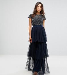 Ярусное платье макси с короткими рукавами, однотонными пайетками и бантом Maya - Темно-синий
