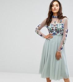 Декорированное платье миди с длинными рукавами и воротником-стойкой Maya - Синий