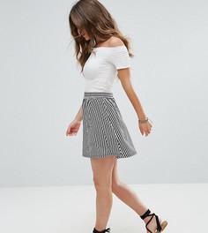 Короткая расклешенная юбка в полоску ASOS PETITE - Мульти