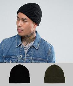 2 шапки-бини в рыбацком стиле (черная и хаки) ASOS - СКИДКА - Черный