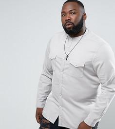Серая эластичная джинсовая рубашка слим в стиле вестерн ASOS PLUS - Серый