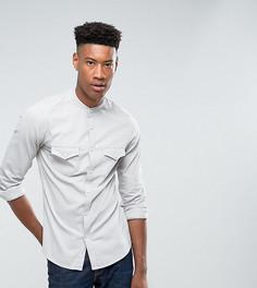 Джинсовая облегающая эластичная рубашка в стиле вестерн с воротником на пуговицах ASOS TALL - Серый