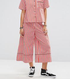 Широкие брюки в полоску с кантом Reclaimed Vintage - Красный