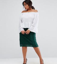 Кружевная юбка-карандаш миди Rage Plus - Зеленый