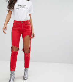 Джинсы с рваной отделкой и кольцом Missguided - Красный