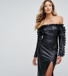 Платье-футляр из искусственной кожи с оборками Missguided - Черный