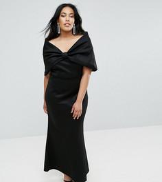 Платье макси с открытыми плечами и бантом Club L Plus - Черный