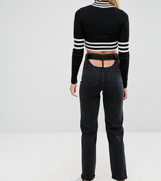 Выбеленные черные прямые джинсы с завышенной талией и ремнем ASOS TALL - Черный