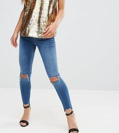 Темно-синие джинсы с рваными коленями ASOS PETITE RIDLEY - Синий