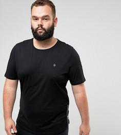 Удлиненная обтягивающая футболка с круглым вырезом и молниями Noose & Monkey PLUS - Черный
