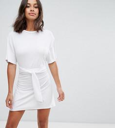 Платье мини с поясом на талии ASOS PETITE - Белый