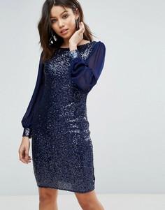 Платье-туника с отделкой бисером на горловине Little Mistress - Кремовый