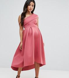 Приталенное платье миди на одно плечо ASOS MATERNITY PETITE - Розовый