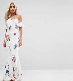 Платье-бандо макси с цветочным принтом City Goddess Petite - Белый