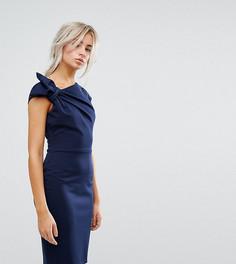 Платье-футляр миди с бантом на плече City Goddess Petite - Темно-синий